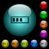Progressbar icons in color illuminated glass buttons - Progressbar icons in color illuminated spherical glass buttons on black background. Can be used to black or dark templates