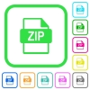 ZIP file format vivid colored flat icons - ZIP file format vivid colored flat icons in curved borders on white background