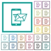 Sending email from mobile phone flat color icons with quadrant frames - Sending email from mobile phone flat color icons with quadrant frames on white background