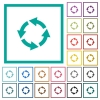 Rotate left flat color icons with quadrant frames - Rotate left flat color icons with quadrant frames on white background