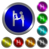 Dollar cash machine luminous coin-like round color buttons - Dollar cash machine icons on round luminous coin-like color steel buttons