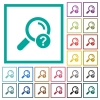 Unknown search flat color icons with quadrant frames - Unknown search flat color icons with quadrant frames on white background