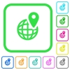 GPS location with globe symbol vivid colored flat icons - GPS location with globe symbol vivid colored flat icons in curved borders on white background