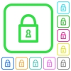 Locked padlock with keyhole vivid colored flat icons - Locked padlock with keyhole vivid colored flat icons in curved borders on white background