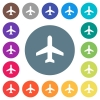 Airplane flat white icons on round color backgrounds - Airplane flat white icons on round color backgrounds. 17 background color variations are included.