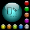 Rotate element icons in color illuminated glass buttons - Rotate element icons in color illuminated spherical glass buttons on black background. Can be used to black or dark templates