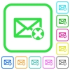Delete mail vivid colored flat icons - Delete mail vivid colored flat icons in curved borders on white background
