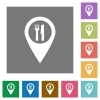 Restaurant GPS map location square flat icons - Restaurant GPS map location flat icons on simple color square backgrounds