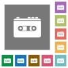 Vintage retro walkman square flat icons - Vintage retro walkman flat icons on simple color square backgrounds