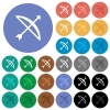 Bow with arrow round flat multi colored icons - Bow with arrow multi colored flat icons on round backgrounds. Included white, light and dark icon variations for hover and active status effects, and bonus shades on black backgounds.
