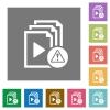Playlist warning square flat icons - Playlist warning flat icons on simple color square backgrounds