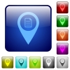 GPS map location details color square buttons - GPS map location details icons in rounded square color glossy button set