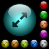 Resize full icons in color illuminated glass buttons - Resize full icons in color illuminated spherical glass buttons on black background. Can be used to black or dark templates