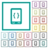 Mobile software development flat color icons with quadrant frames on white background - Mobile software development flat color icons with quadrant frames