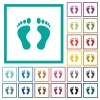 Human Footprints flat color icons with quadrant frames - Human Footprints flat color icons with quadrant frames on white background