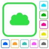 Cloud vivid colored flat icons - Cloud vivid colored flat icons in curved borders on white background