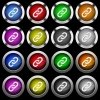 Link white icons in round glossy buttons on black background - Link white icons in round glossy buttons with steel frames on black background. The buttons are in two different styles and eight colors.