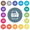 PPT file format flat white icons on round color backgrounds - PPT file format flat white icons on round color backgrounds. 17 background color variations are included.