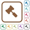 Judge hammer simple icons - Judge hammer simple icons in color rounded square frames on white background