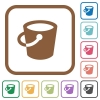 Bucket simple icons in color rounded square frames on white background - Bucket simple icons