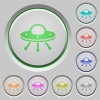 UFO push buttons - UFO color icons on sunk push buttons