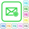 Queued mail vivid colored flat icons - Queued mail vivid colored flat icons in curved borders on white background
