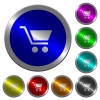 Empty shopping cart luminous coin-like round color buttons - Empty shopping cart icons on round luminous coin-like color steel buttons