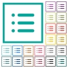 Unordered list flat color icons with quadrant frames on white background - Unordered list flat color icons with quadrant frames