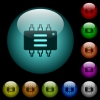 Hardware options icons in color illuminated glass buttons - Hardware options icons in color illuminated spherical glass buttons on black background. Can be used to black or dark templates