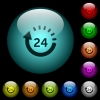 24 hour delivery icons in color illuminated glass buttons - 24 hour delivery icons in color illuminated spherical glass buttons on black background. Can be used to black or dark templates