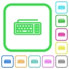 Computer keyboard vivid colored flat icons - Computer keyboard vivid colored flat icons in curved borders on white background