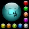 Drag and drop operation icons in color illuminated glass buttons - Drag and drop operation icons in color illuminated spherical glass buttons on black background. Can be used to black or dark templates