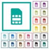 SIM card flat color icons with quadrant frames - SIM card flat color icons with quadrant frames on white background