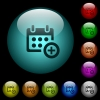 Add to calendar icons in color illuminated glass buttons - Add to calendar icons in color illuminated spherical glass buttons on black background. Can be used to black or dark templates