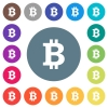 Bitcoin sign flat white icons on round color backgrounds - Bitcoin sign flat white icons on round color backgrounds. 17 background color variations are included.