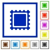 Stamp flat color icons in square frames on white background