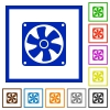 Computer fan flat color icons in square frames on white background - Computer fan flat framed icons