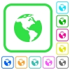 Earth vivid colored flat icons - Earth vivid colored flat icons in curved borders on white background