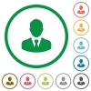 Businessman avatar flat color icons in round outlines on white background - Businessman avatar flat icons with outlines