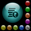 Indian Rupee coins icons in color illuminated glass buttons - Indian Rupee coins icons in color illuminated spherical glass buttons on black background. Can be used to black or dark templates