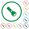 Flashlight flat color icons in round outlines on white background - Flashlight flat icons with outlines