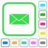 Envelope vivid colored flat icons - Envelope vivid colored flat icons in curved borders on white background