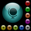 Globe with stand icons in color illuminated glass buttons - Globe with stand icons in color illuminated spherical glass buttons on black background. Can be used to black or dark templates