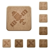 Satellite wooden buttons - Satellite on rounded square carved wooden button styles