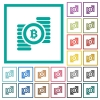 Bitcoins flat color icons with quadrant frames - Bitcoins flat color icons with quadrant frames on white background