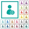 Lock user account flat color icons with quadrant frames - Lock user account flat color icons with quadrant frames on white background