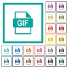 GIF file format flat color icons with quadrant frames - GIF file format flat color icons with quadrant frames on white background