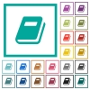 Personal diary flat color icons with quadrant frames - Personal diary flat color icons with quadrant frames on white background