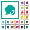 Moderate blog comment flat color icons with quadrant frames - Moderate blog comment flat color icons with quadrant frames on white background