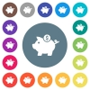 Dollar piggy bank flat white icons on round color backgrounds - Dollar piggy bank flat white icons on round color backgrounds. 17 background color variations are included.